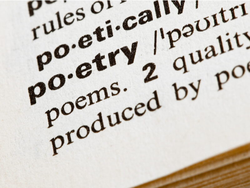 """A close-up of a dictionary entry for the word """"poetry"""""""